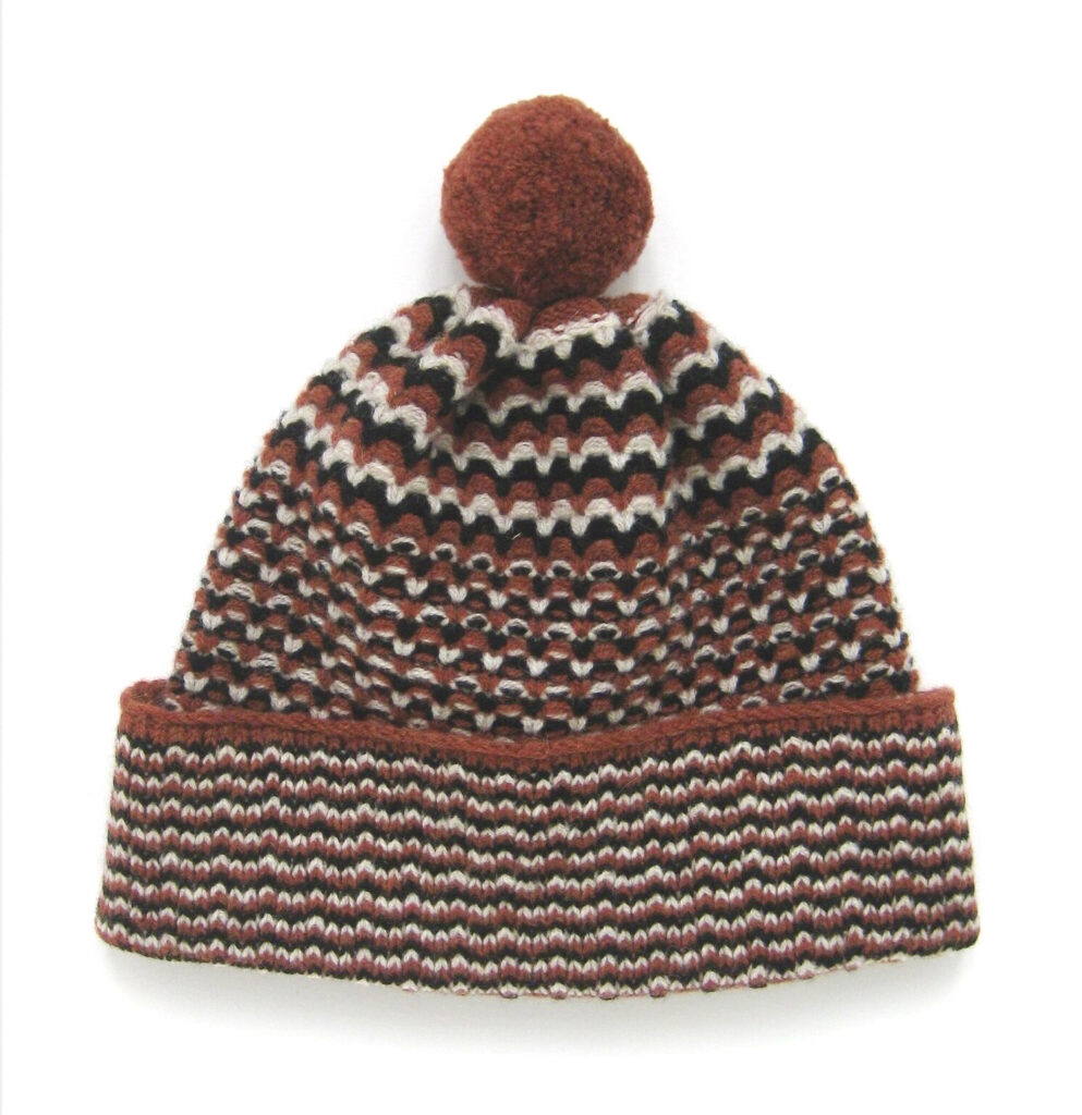Textured Stripe Pompom Hat